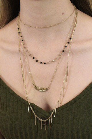 Multi Layer Black and Gold Necklace