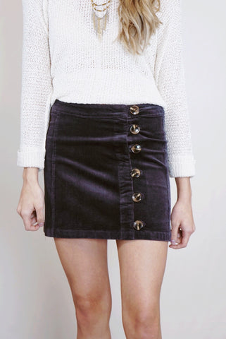 Side Button Corduroy Skirt