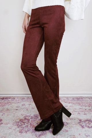 Suede Flare Pants