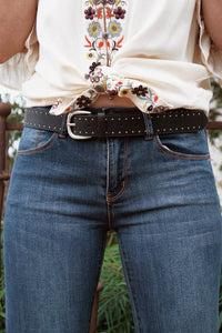 Black Stud Lined Belt