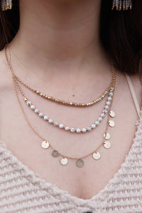 Disc & Stone Layer Necklace