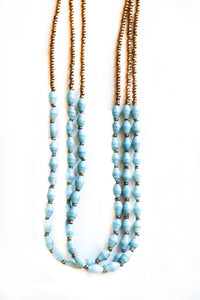 South African Triple Layer Bead Necklace (Multiple Colors)