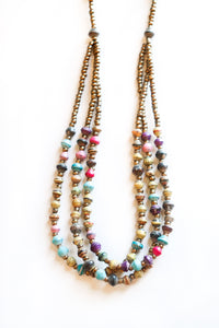 Colorful 3 Layered Magazine Bead Necklace