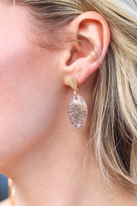 Pressed Floral & Glitter Earrings