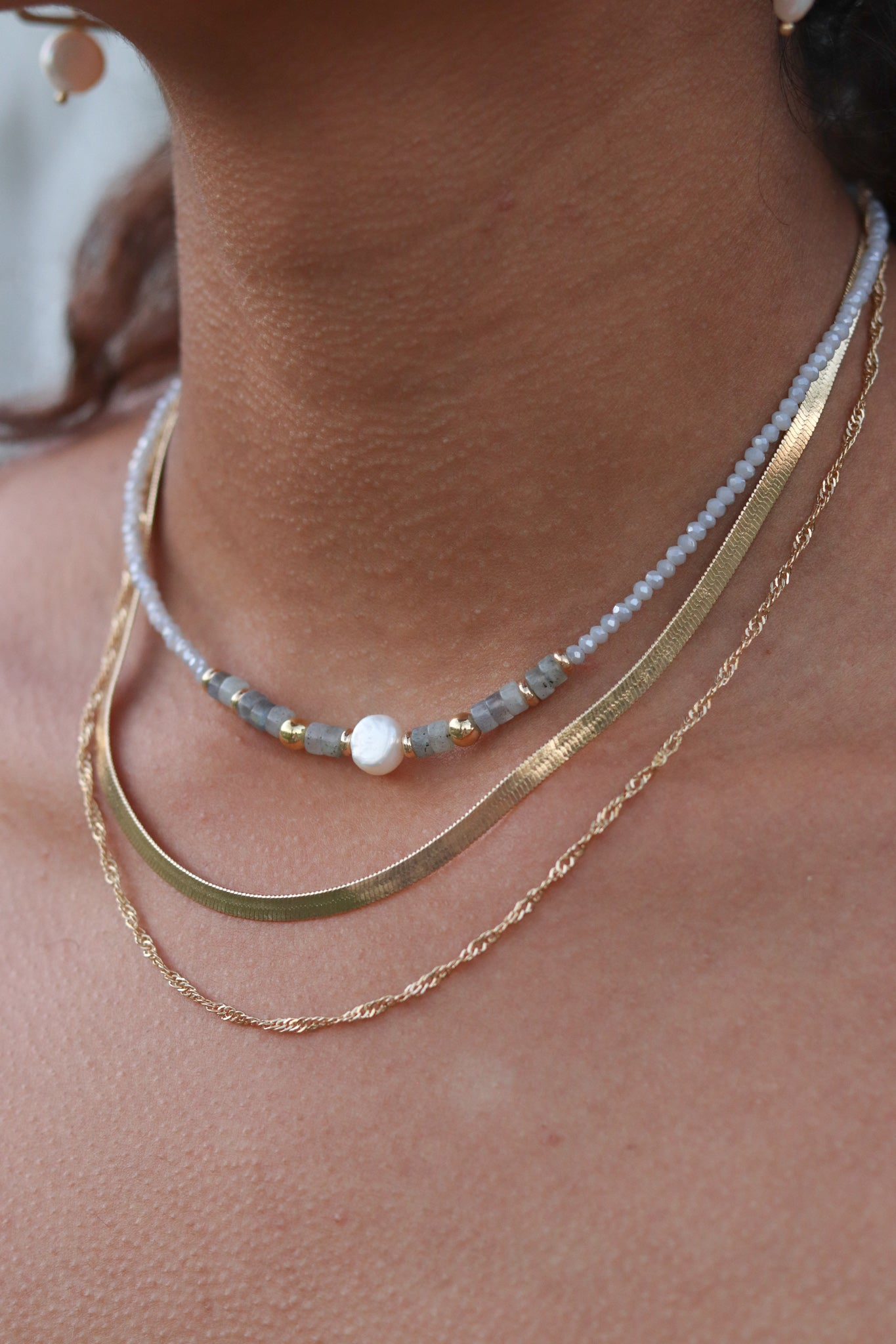 Chain & Bead Pearl Necklace