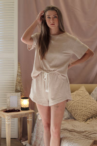 Taupe Striped Casual Loungewear Set