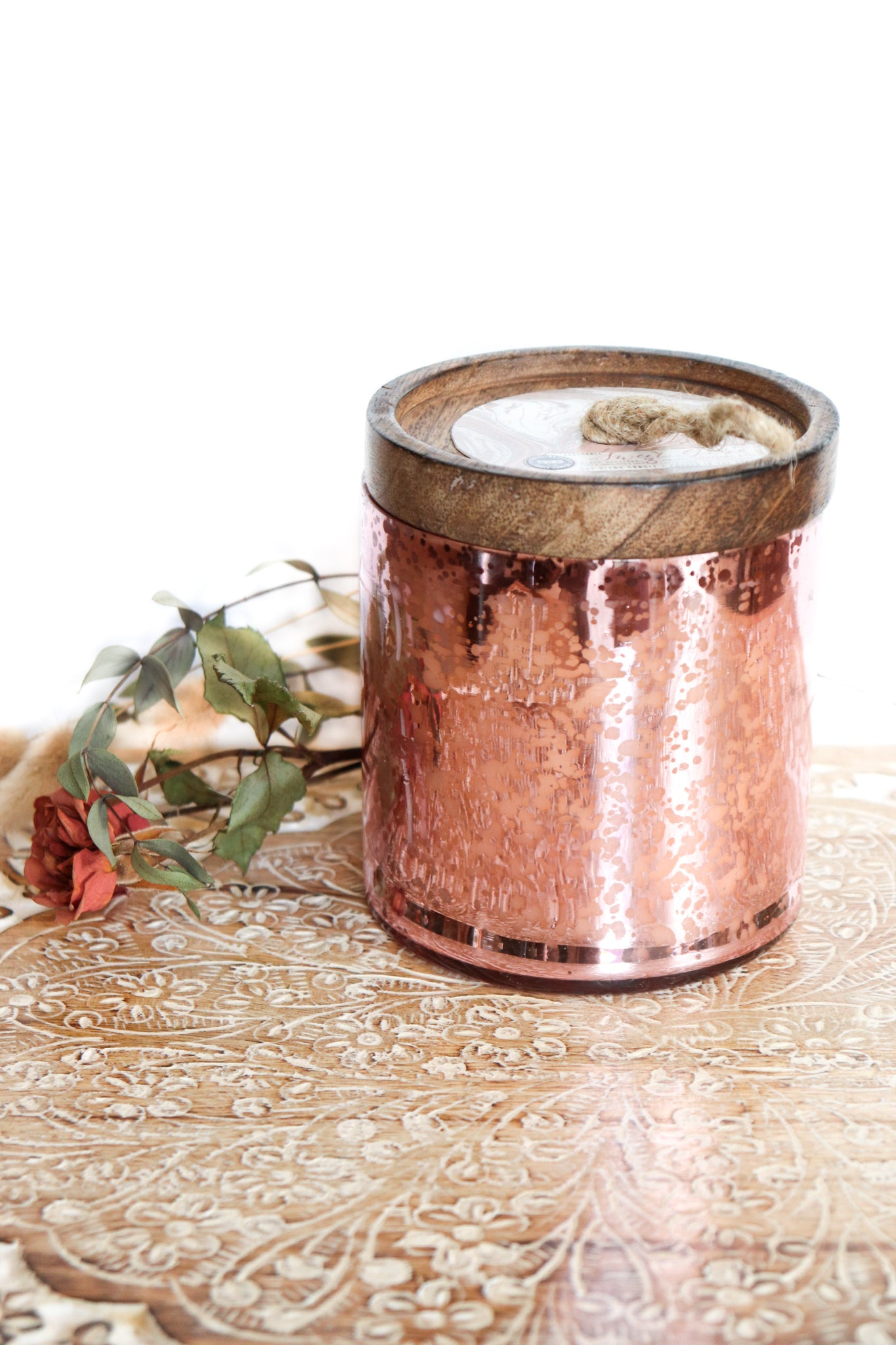 Pink Mercury Glass & Wooden Lid Candle