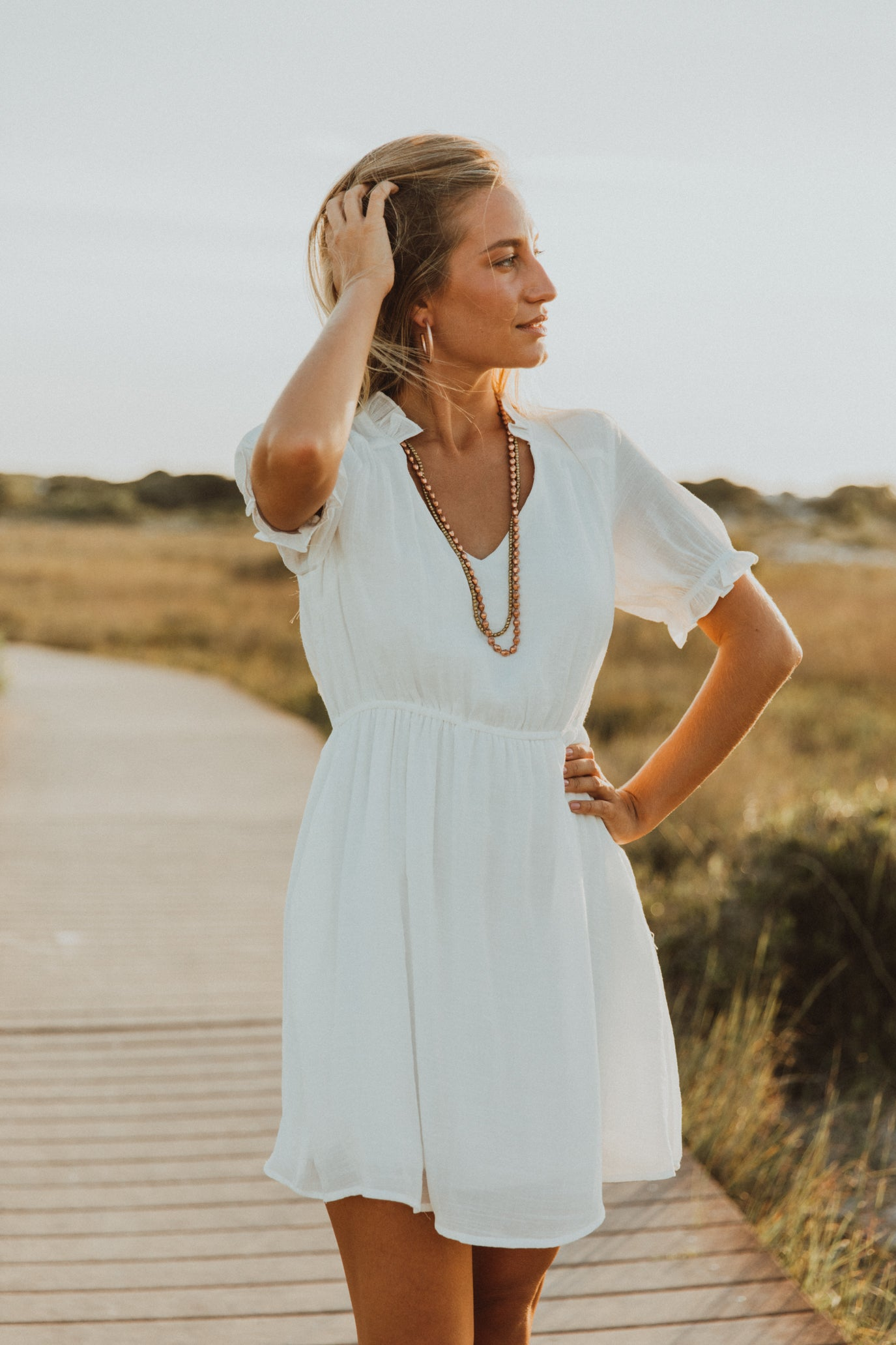 Ithaca White Ruffle Dress
