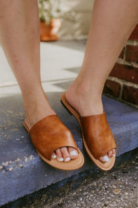 Kaylee Cognac Slide Sandals