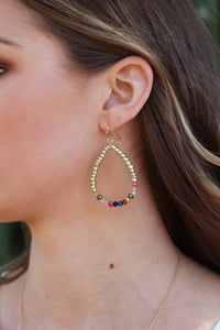 Multi Color Beaded Teardrop Earrings