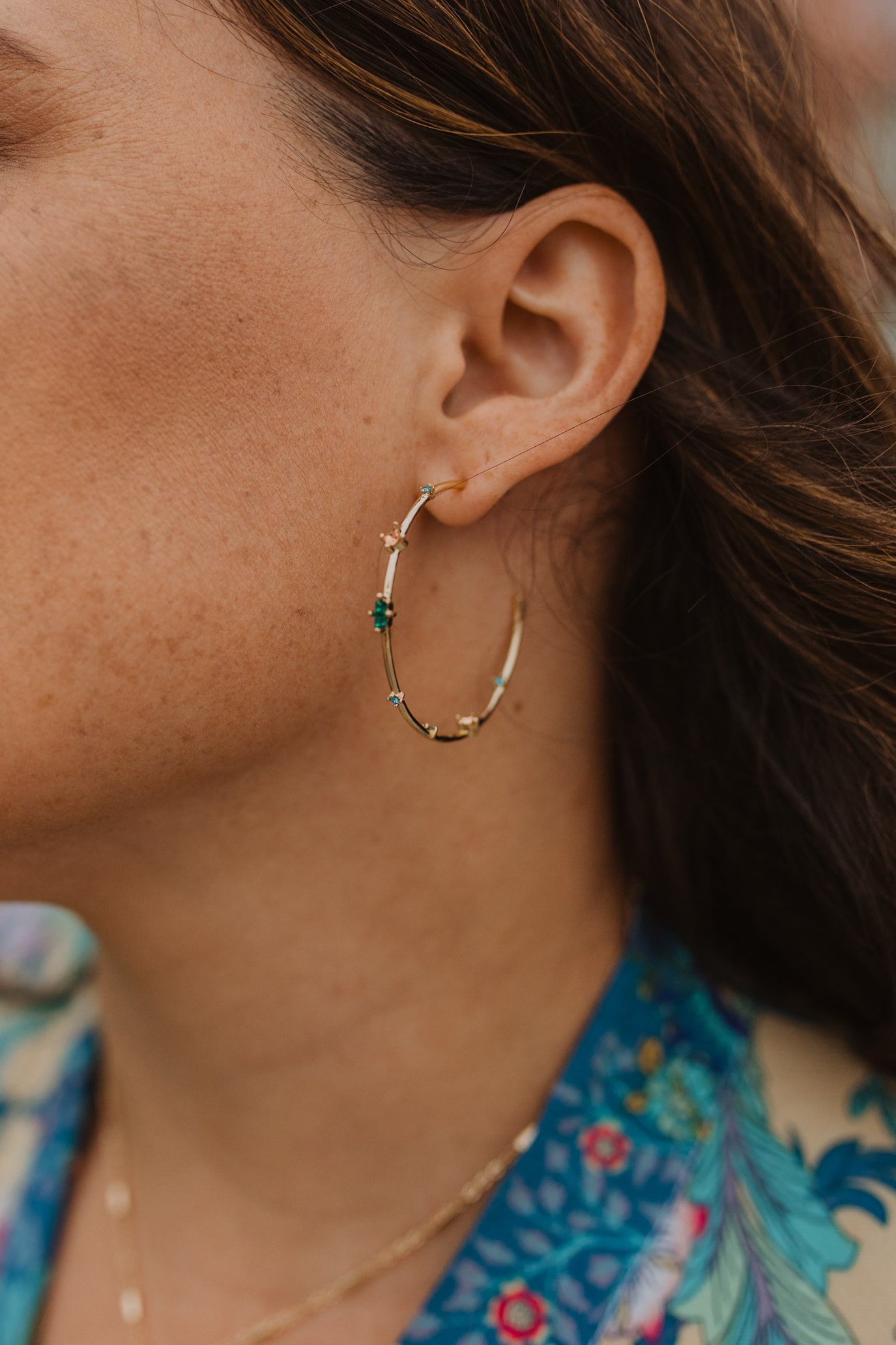 Multi Stone Gold Hoops