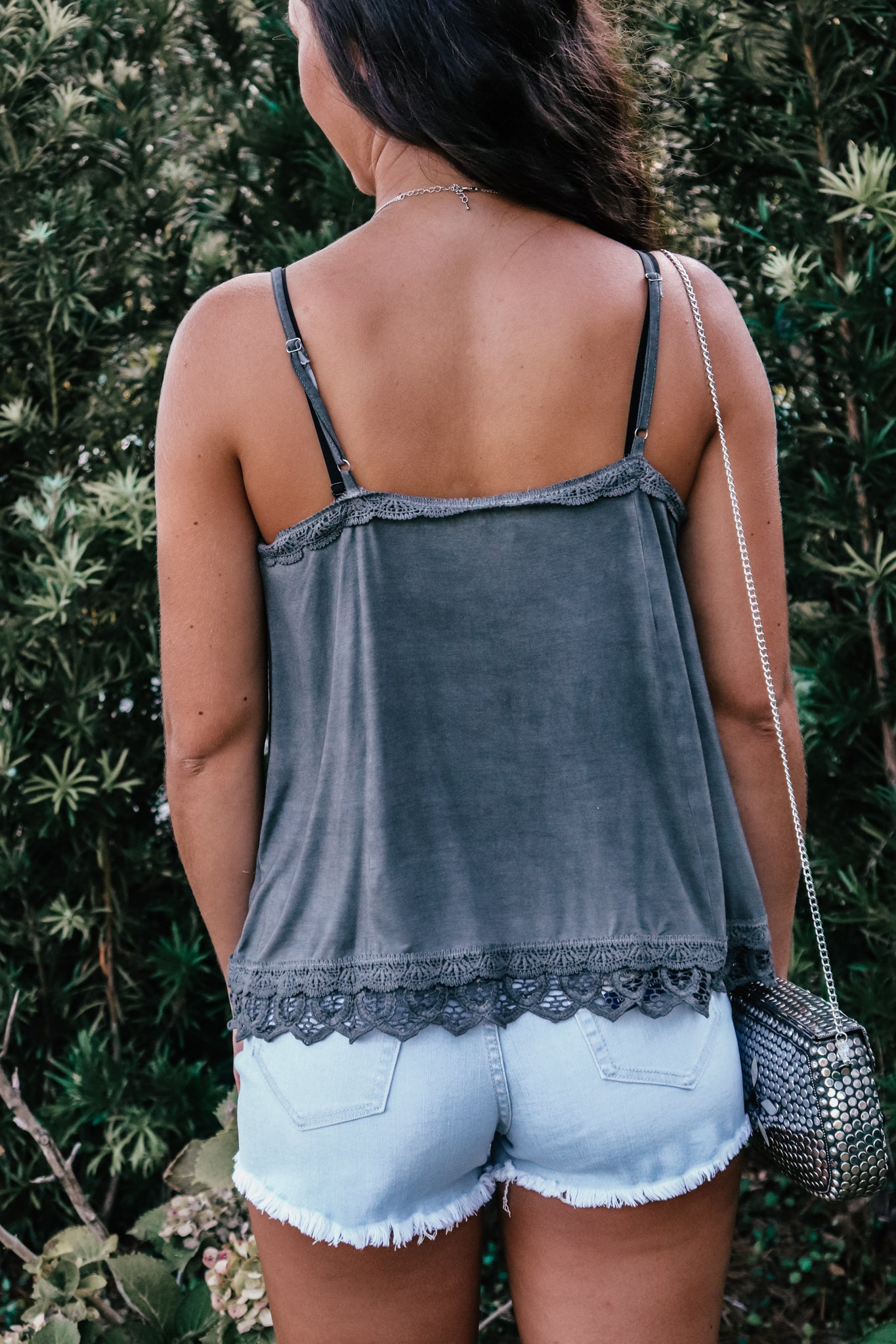 Novara Charcoal Button Detail Cami