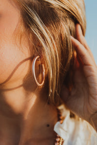 Solid Rose Gold Open Hoops