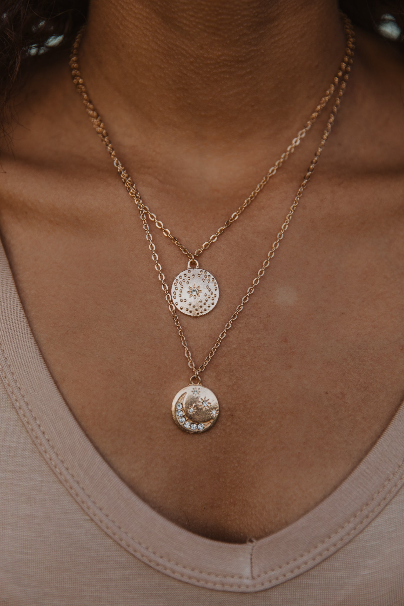 Star and Moon Coin Necklace