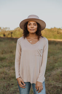 Taupe Pocket Long Sleeve Top