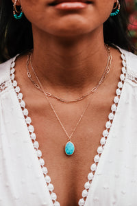Turquoise Pendant Layered Necklace