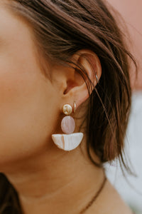Wedge Frosted Circle Earrings (Multiple Colors)