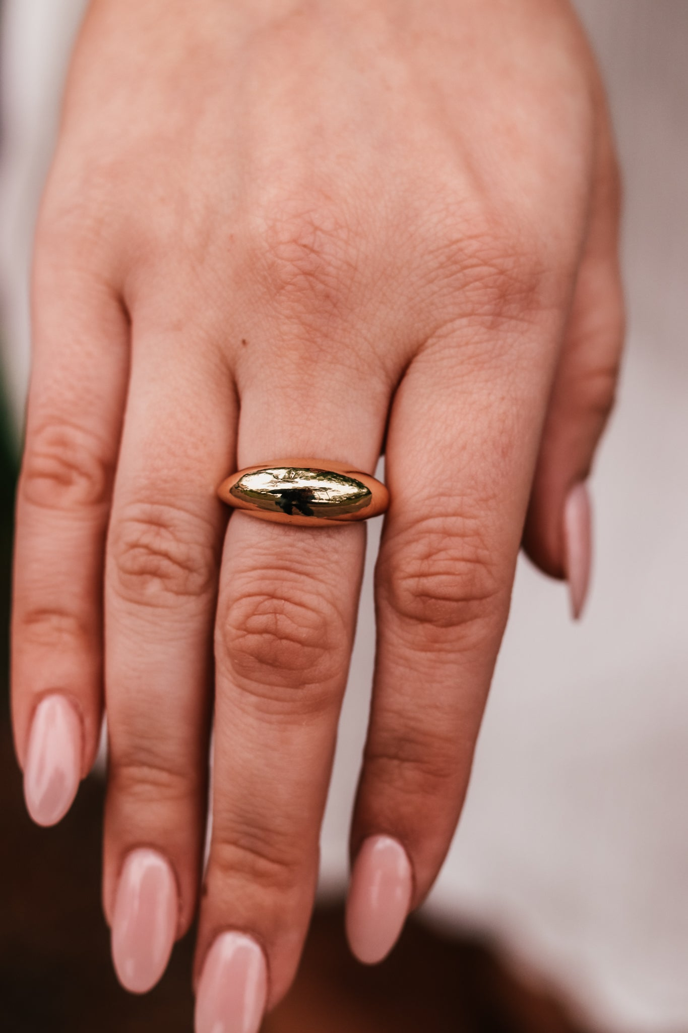 Wide Gold Metal Ring