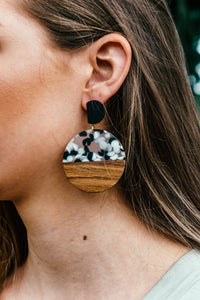 Wood & Resin Disc Earring
