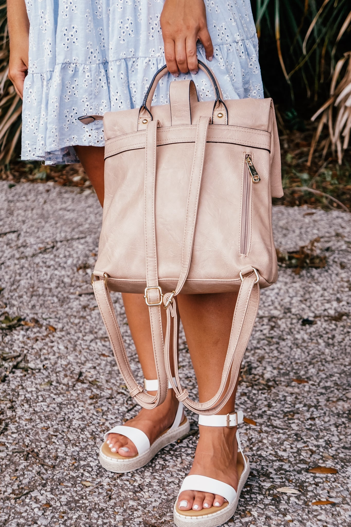 Buckle Flap Taupe Backpack