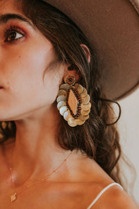 Shell and Wood Earring