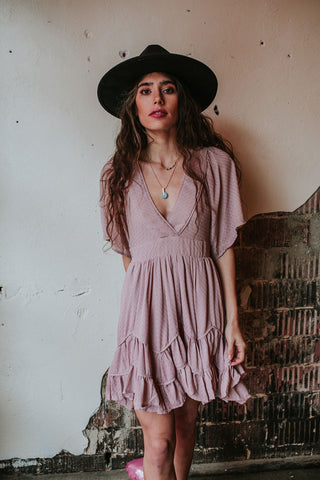 Claire Ruffle Mauve Dress
