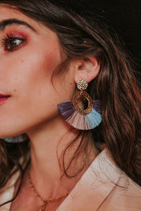 Hammered Circle Raffia Earrings
