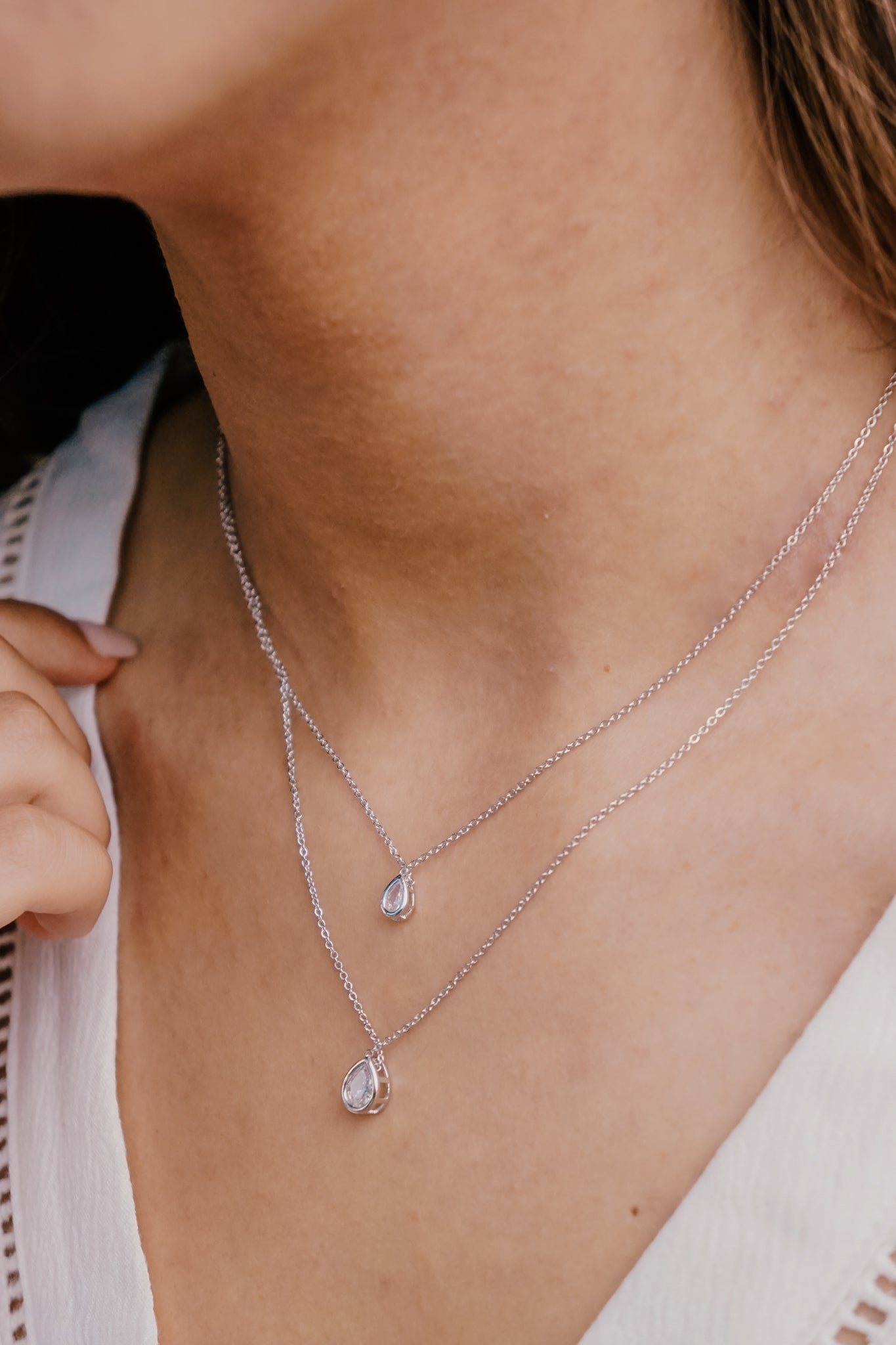 Layered Dainty Silver Teardrop Necklace