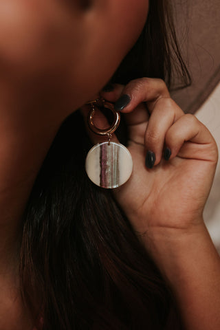 Stripe Resin Disc Earring