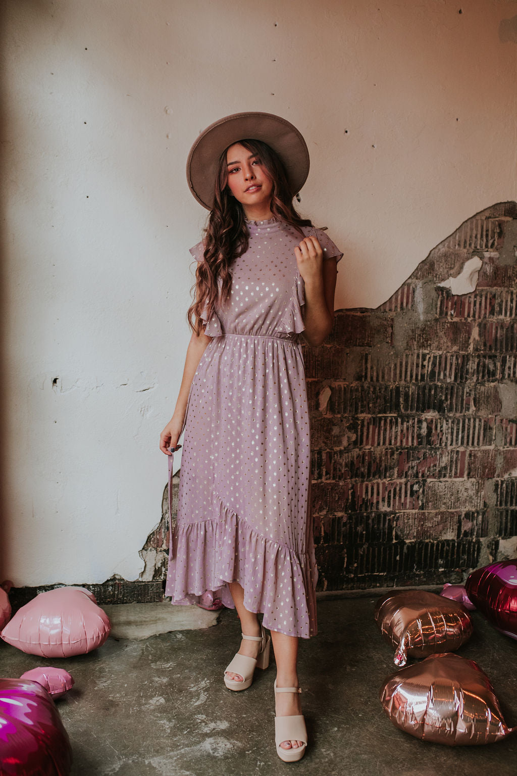 Foil Dotted Lavender Midi Dress