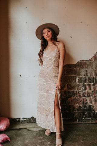 Napa Off White Lace Overlay Maxi
