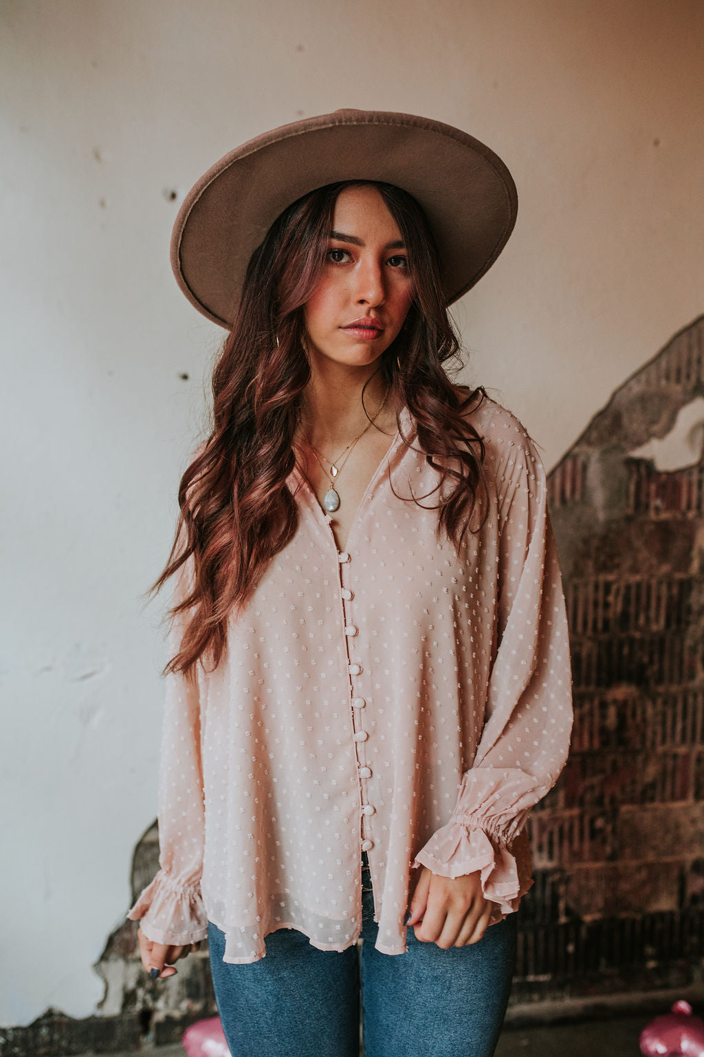 Kissimmee Dot Blush Boho Top