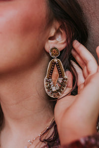 Embellished Beading and Wood Rhombus Earring
