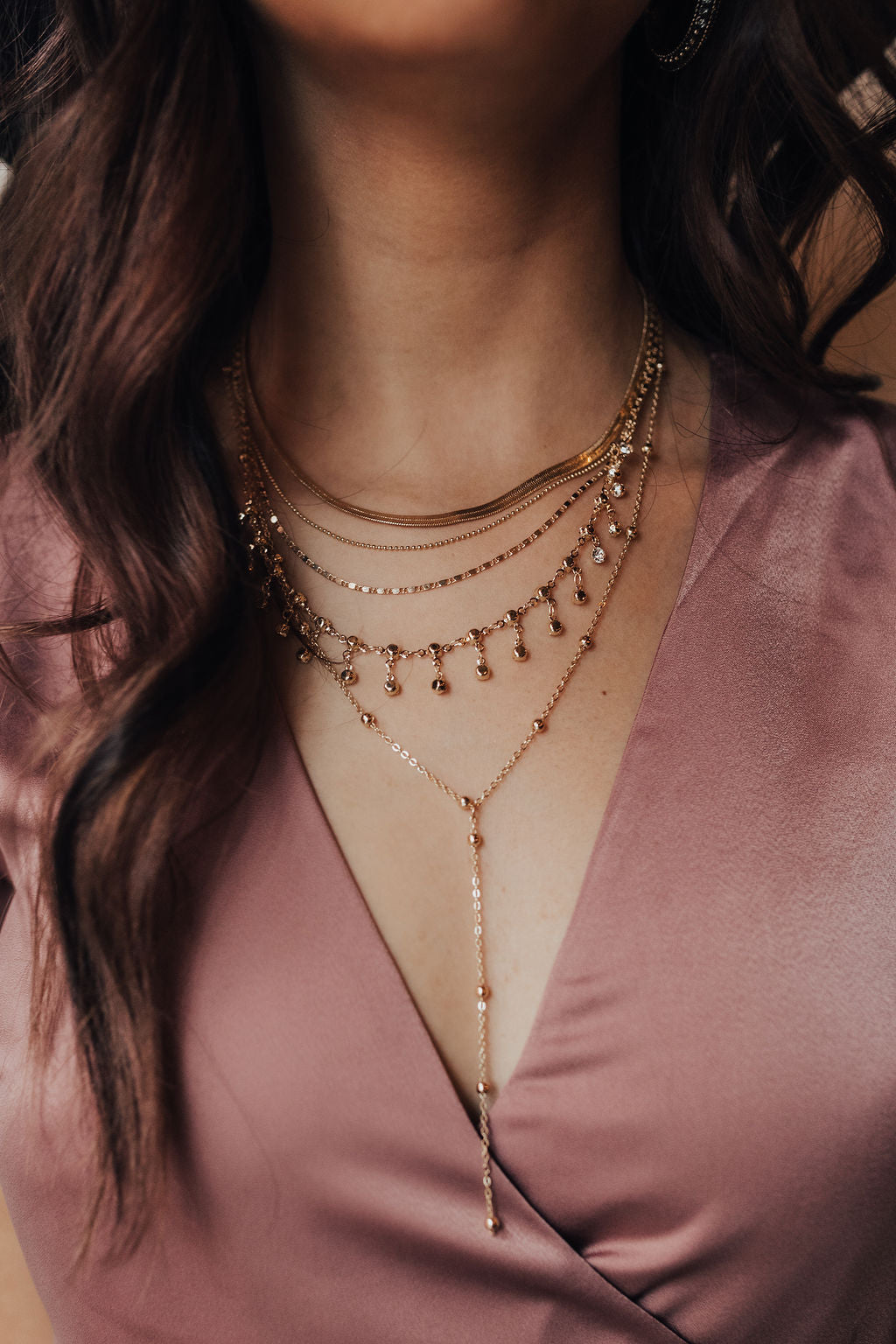 Multiple Layer Chain and Diamond Lariat Necklace