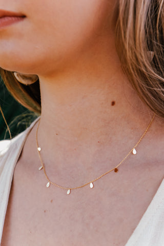 Dainty Teardrop Necklace (Multiple Colors)