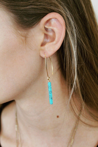Rectangle Stone Thread Earring
