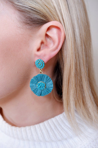Raffia One Flower Earrings (Multiple Colors)
