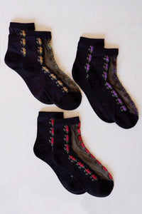 Floral Mesh Socks (Multiple Colors)