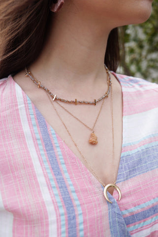 Druzy & Horn Layer Necklace