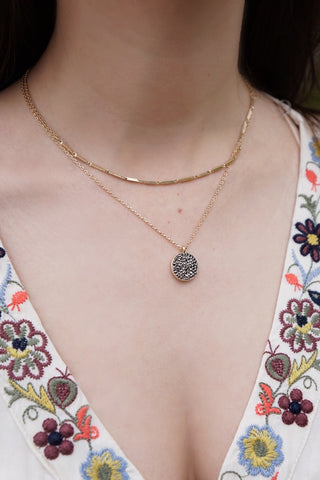 Pave Disc Layer Necklace