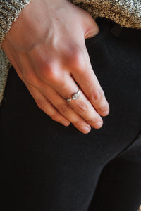 Open Stone Ring (Sterling Silver)