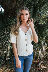 Rib & Button Front Top