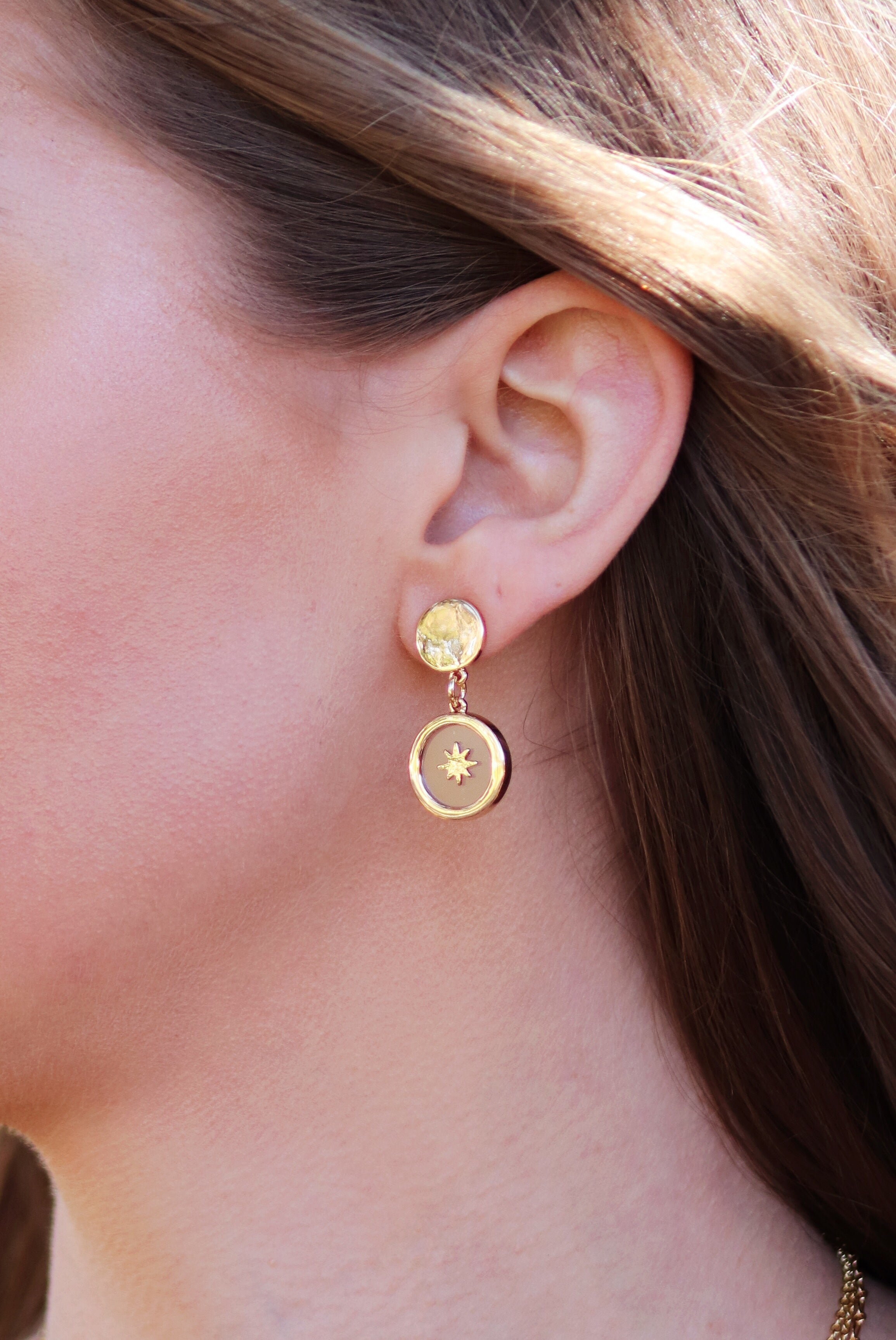 Gold Starburst & Resin Earring