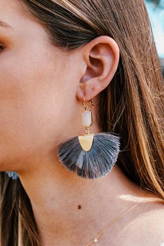 Grey Tassel & Feather Earrings