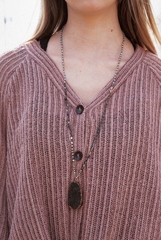 Bead & Druzy Statement Necklace