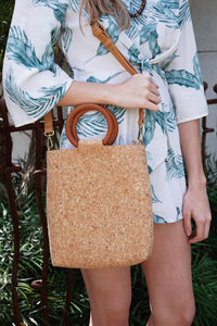 Wood Circle Cork Bucket Bag