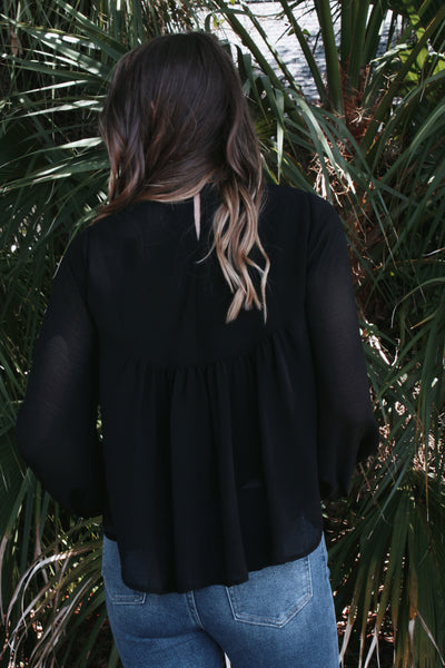 High Neck Embroidered Top