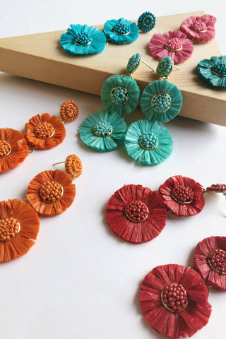 Raffia Two Flower Earrings (Multiple Colors)