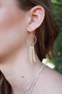 Bar & Circle Fringe Earrings