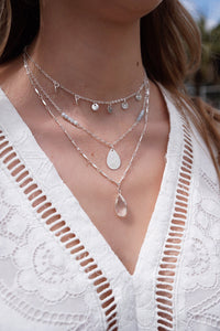 Silver Layered Teardrop & Bead Necklace